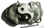 YING YANG FISH Belt Buckle + display stand